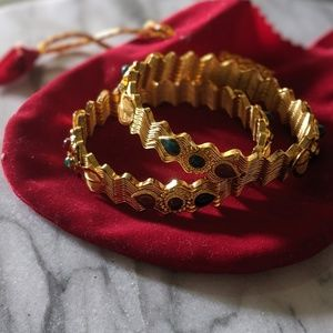 NEW Set of 2 Gold Ornate Holiday Indian Bangles!